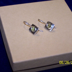 Silpada Square Silver and Peridot Earrings W0659